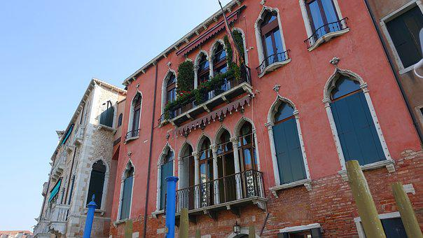 Structure, Old, City, Building, Window, Flowers, Venice