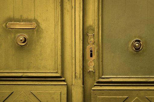 Door, Gate, Lock, Handle, Entrance, Old, Gold, Golden