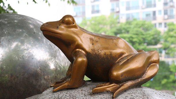Frog, Sculpture, Amphibians, Park