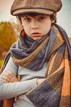 Boy, Portrait, Baby, Kids, Grown Up, Scarf, Cap