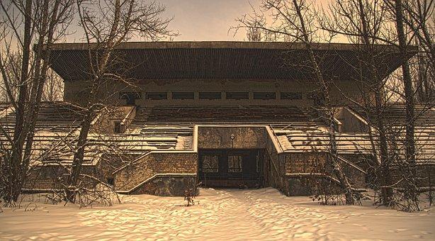 Stadium, Stand, Pripyat, Chernobyl, Snow