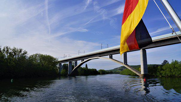 Waters, Sky, Bridge, Nature, River, Main, Germany