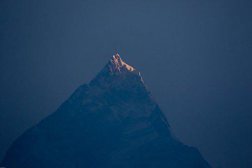 Nepal, Pokhara, Fishtail, Mountain Peak, Sunrise, Sky