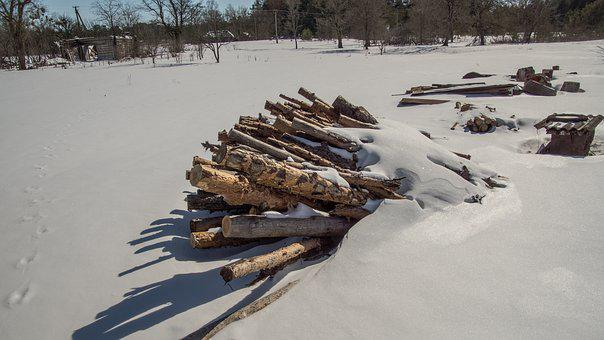 Wood, Pile, Snow, Shadow, Exclusion Zone, Winter