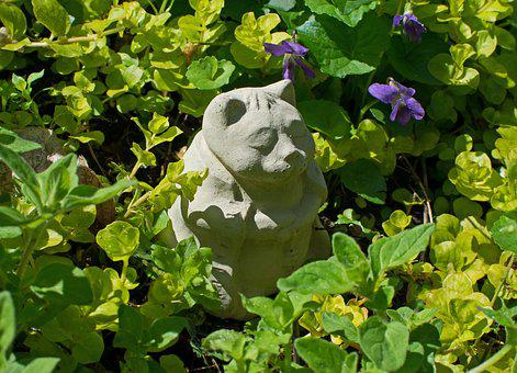 Cat, Feline, Ceramic, Art, Garden, Foliage, Decoration