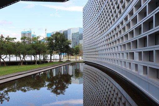 Building, Reflection, Sky, City, Modern, South Hkust