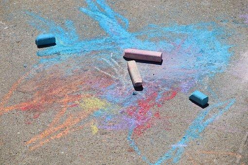 Sidewalk Chalk, Preschool, Art, Draw, Chalk, Child