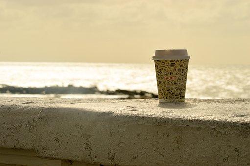 Beach, Sea, Ocean, Costa, Mar Del Plata, Coffee, Tea