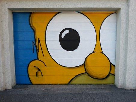 Wall, Door, Homer Simpson, Garage, Paint, Eyes