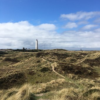 Landscape, Nature, Sky, Grass, Denmark, Lighthouse, Sun