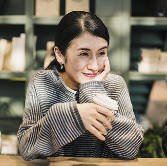 Woman, Adult, Coffee, Lifestyle, Sit, Asian, Awake
