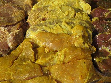 Raw, Meat, Grilled Meats, Steak, Seasoned, Food