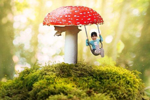 Fantasy, Girl, Swing, Mushroom, Moss, Bokeh, Fly Agaric