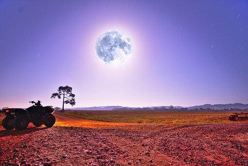 Moon, Night Sky, Spectacular Landscape, Atv