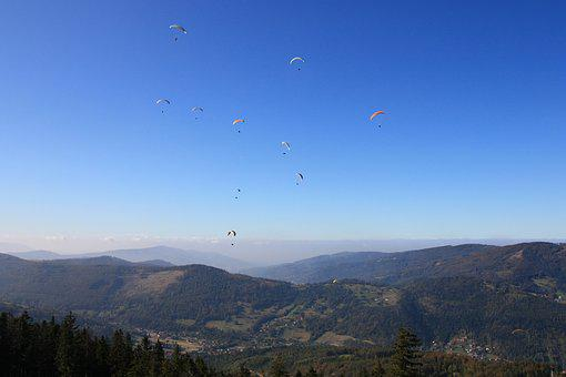 Sky, Mountain, Landscape, Nature, Panoramic, Parachute