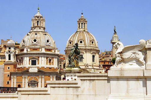 Italy, Rome, Churches, Roofing, Sculptures