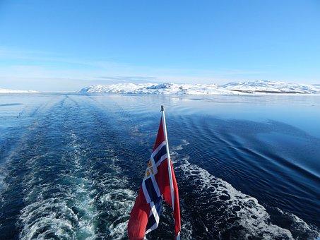 Norway, Winter, Ship, Norwegian Flag
