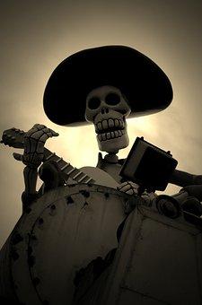 Silhouette, Mask, Sugar, Day, Dead, Mexico