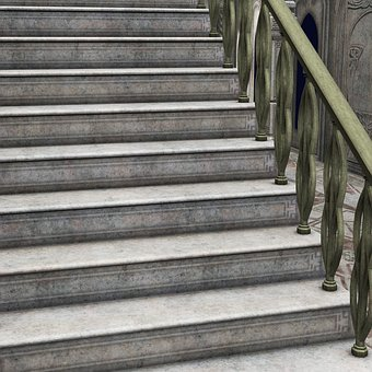 Stairs, Gradually, Railing, Rise, Staircase