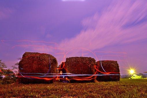 Night Sky, Lights, Hay Bales, Straw, Purple, Farm