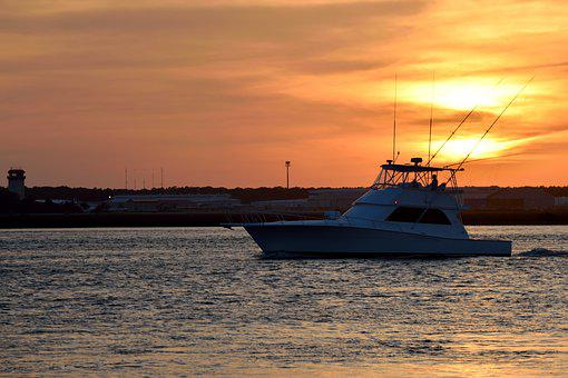 Water, Sea, Sunset, Boat, Silhouette, Landscape, Sun