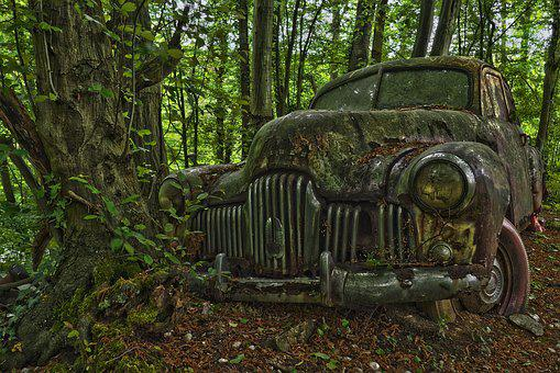 Auto, Car Cemetery, Oldtimer, Old, Rust