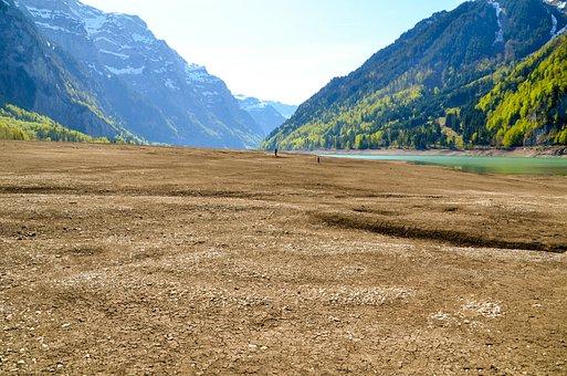 Drought, Lake Klöntal, Bergsee, Alpine, Glarus, Massif
