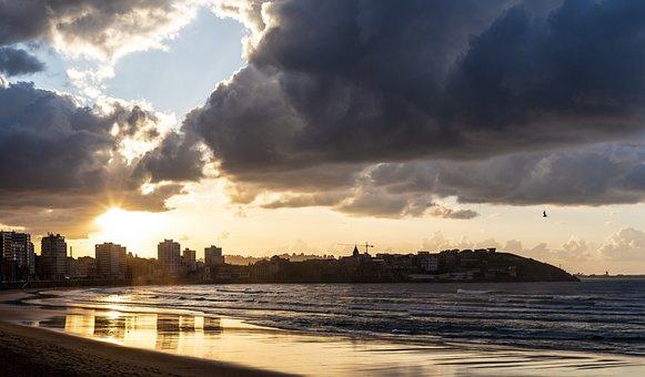 Body Of Water, Sunset, Nature, Panoramic, Sky, Gijón