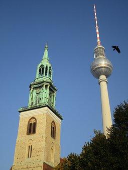 Tv Tower, St Mary's Church, Church, Tower, Berlin, Bird