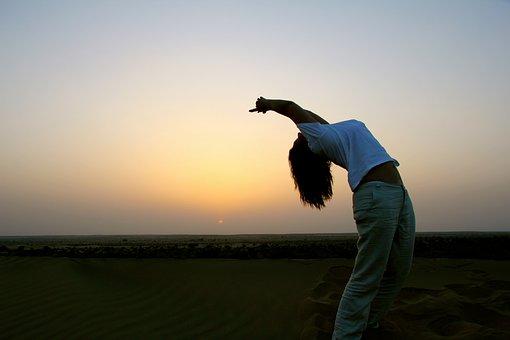 Sunset, Outdoors, Sky, Yoga, Relax, Figure, Women