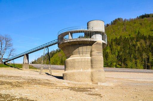 Reservoir, Drought, Dam, Measuring Tower, Landscape