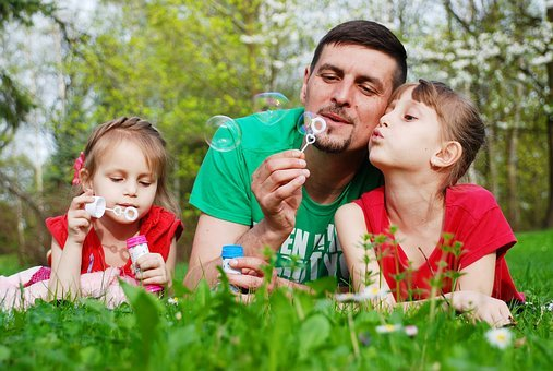Baby, Dad, Daughter, Kids, Soap Bubbles, Nature, Summer