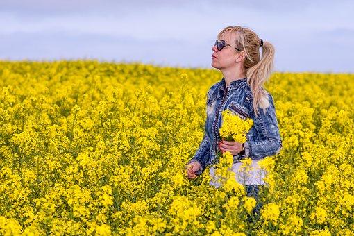 Field, Nature, Flower, Hayfield, Summer, Woman, Blossom