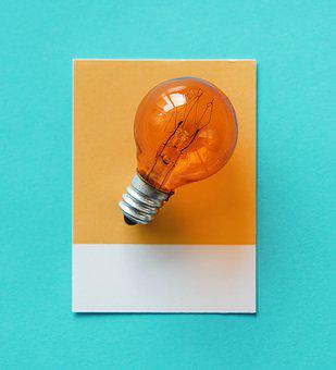 Bulb, Paper, Electricity, Card, Colorful, Concept