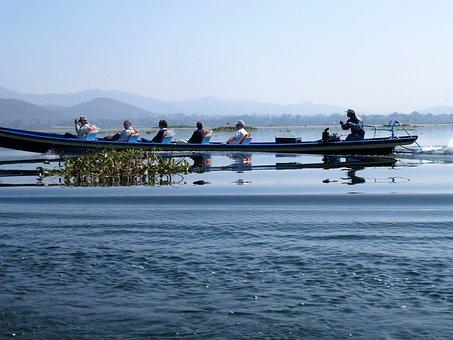 Burma, Lake, Body Of Water, Sea, Sky, Travel, Boat