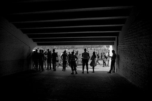 People, Input, Tunnel, Stadium, Black And White