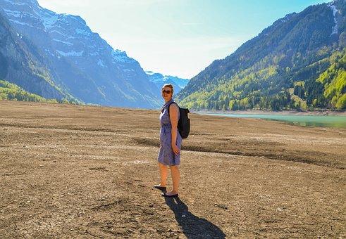 Drought, Lake Klöntal, Vacations, Hiking, Bergsee