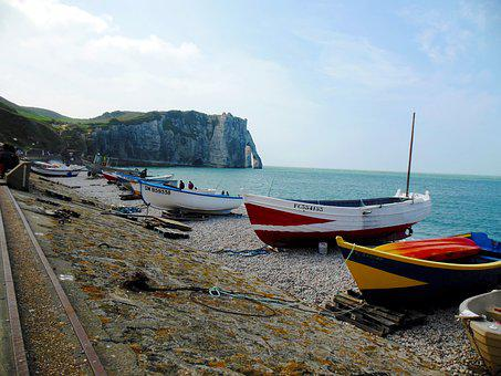 Etretat, France, Normandy, Sea, Seashore, Water, Travel