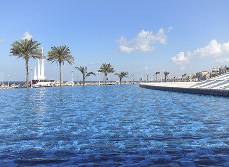 Alexandria, Library, Egypt, Sky, Water Feature