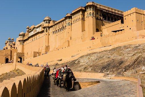 India, Jaipur, Amber Fort, Elephant, Fortress, Antique