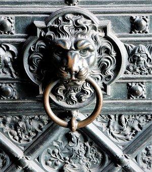 Door, Art, Floral, Goal, Ornament, Antiquity, Lion