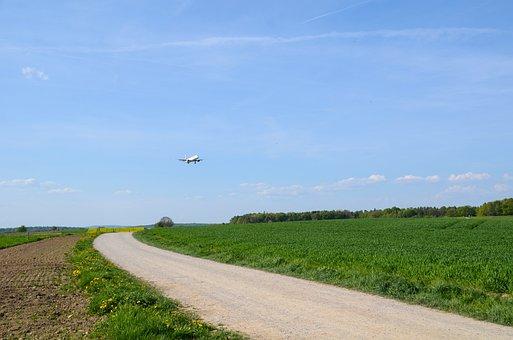 Aircraft, Approach, Landing, Land, Landscape, Nature