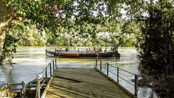 Barca, Barge, Boat, Ebro River, Riu Ebre, Jetty, Ferry