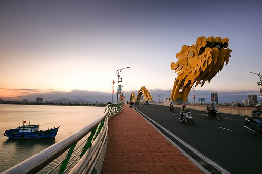 Vietnam, Danang, Dragon Bridge, The City, South River