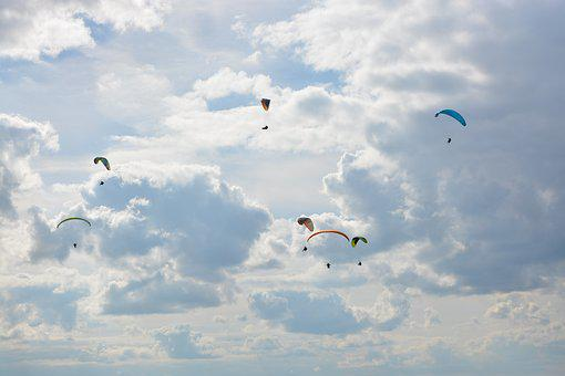 Paragliders, Paragliders High In The Areas, Free Flight
