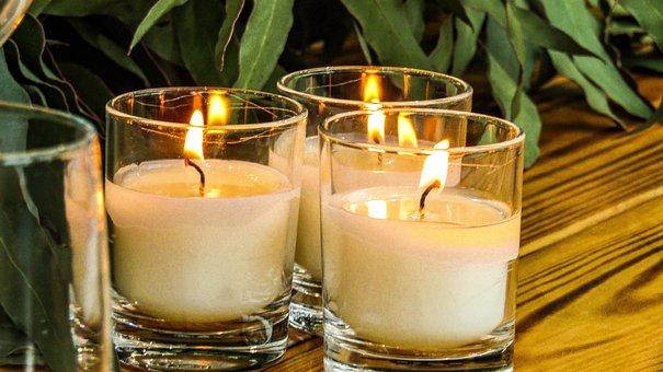 Candles, Glass, Fire, Lights