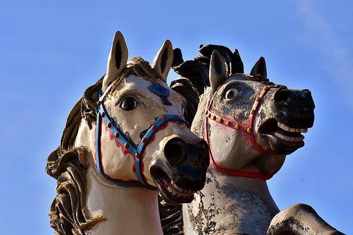 Horses, Figures, Hustle And Bustle, Statue