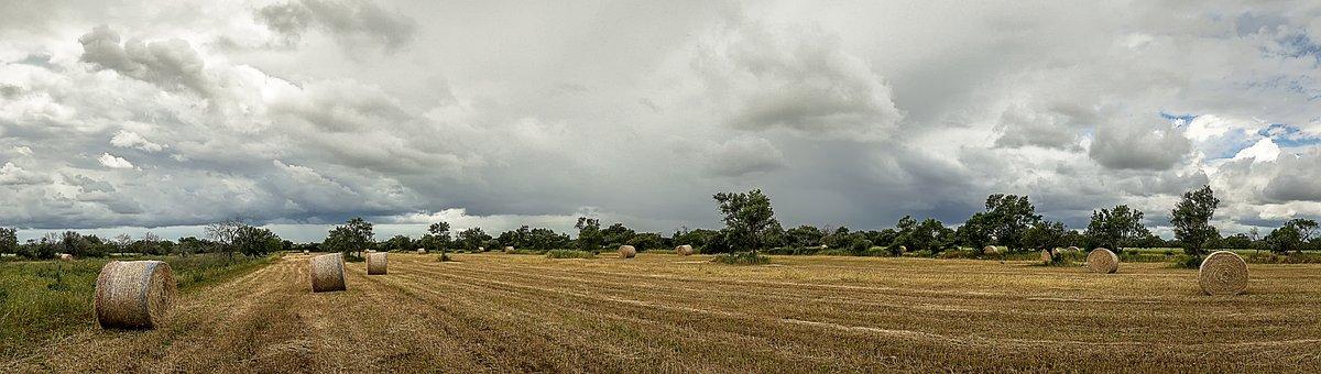 Panoramic, Nature, Landscape, Field, Farm, Sky