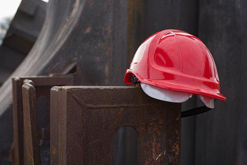 Helmet, Work Protection, Construction, Metal, Iron, Red