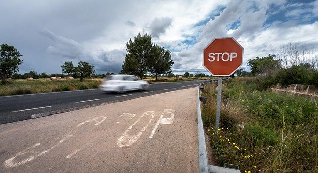 Road, Nature, Asphalt, Travel, Outdoors, Signal, Danger